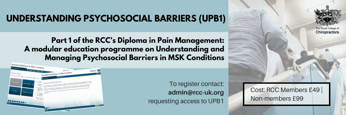 understanding psychosocial barriers, UPB1, pain management, diploma