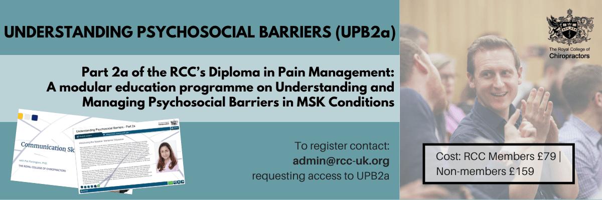 understanding psychosocial barriers, UPB2a, pain management, diploma
